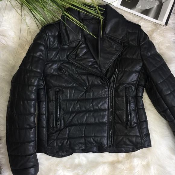 6ae27e63d Alexander Wang x HM Leather Moto Puffer Jacket